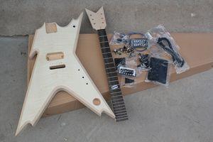 Fabrika elektrik sıradışı şekli yarı bitmiş gitar kitleri sabit köprü, diy gitar, alev akçaağaç kaplama, siyah donanım, değiştirilebilir