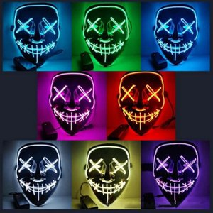 Led Dark Horror Party Mask Neon Funny Face Maske Halloween Glow Masks Soft and steady light