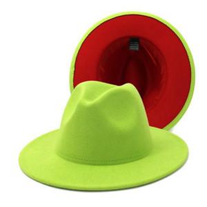 New Classic dos entonó el fieltro de ala del sombrero Hombres Mujeres artificial mezcla de lana casquillo del jazz del borde ancho Iglesia Derby sombrero plano 10pcs / lot