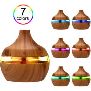 Difusor de óleo do aroma essencial do umidificador elétrico Difusor de madeira ultra-sônica do húmidificador do ar de grão de madeira USB Mini Maker LED para o uso do escritório em casa