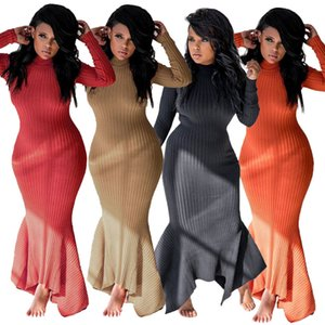 Wholesale Womens long-sleeved dress pit strip stand collar long dress 2020 spring and autumn ladies dress T217