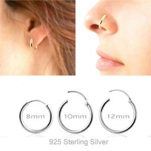 925 Sterling Silver Segment Hoop Nose Ring septum Clicker Tragus Cartilage Ear piercing 8mm 10mm 12mm