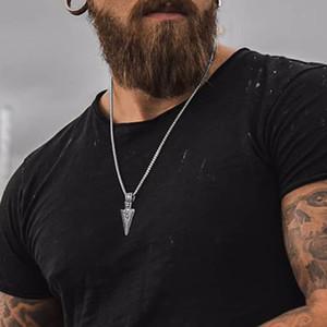 Design de Moda Mens Hip Hop Jewelry titânio colar de pingente de aço de prata banhado a ouro Punk Spearhead Retro Jóias para Hop presente Homens Hip