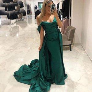 Sirena de África árabe del hombro de la sirena de los vestidos de noche de barrido tren satinado tamaño más formal largo del partido vestidos de fiesta vestidos de L4