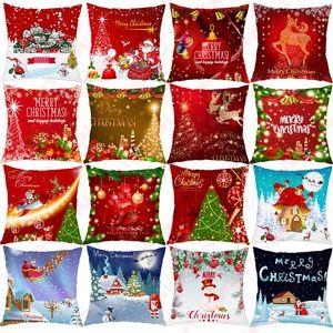 Красный Санта-Клаус дерево Рождество Подушка Обложка рождественские украшения для домашнего украшения Таблица декора Xmas подарков Новый год Наволочка FWA1357