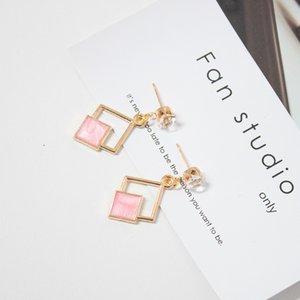 Hot New Fashion creux géométrique Quadrilatère Dangling Déclaration longue Boucles d'oreilles pour les femmes en gros Bijoux en cristal