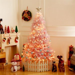 Cherry Blossom Pink Christmas Tree Deluxe Encrypted LED String Light Fruit Stereo Snowflakes Balls Decoration For Christmas Gift