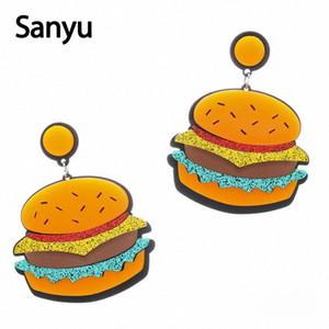Abartılı Yeni Fried Chicken Hamburger Akrilik Bırak Küpe Komik Yaratıcı Glitter Moda Dangle Küpe Brincos J9Fw #