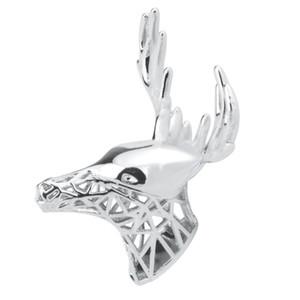 남성 실버 뿔 사슴 사슴 엘크 사슴 머리 목걸이 브로치 핀 크리스마스 선물