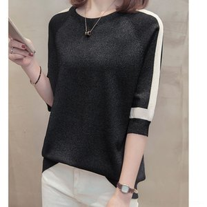 Vpr7N Knitted bottoming women's top with round Autumn sleeve Spring Western style new half and t-shirt 2020 neck Top t-shirt sweater bright s