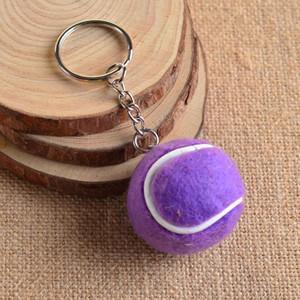 Couro titular do Keychain Mini Tennis Ball Keychain Key Auto Velvet Pom Pom Chaveiro metal Chaveiro Couple Esporte Pendant 2020