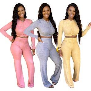 Mujeres del otoño de 2 pedazos de ropa modelo plisado las mangas largas de la pierna ancha pantalones activo usar ropa femenina Traje