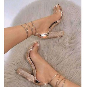Hot Sale-Girl Party Sexy Rhinestone Thick Heels Ankle Strap Dress Shoes Women Transparent Lace Up Bandage High Heels Dandals Shoes