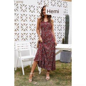 LrIKI ZSNKW 2020 Estate stampato grande disegno abito floreale slim-fit femminile gonna casuale 2020 stampato floreale Sl slim-fit donne di disegno estate