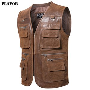 Flavor новый мужской Реальный кожаный жилет для мужчин Мотоцикл Рыбалка Открытый Путешествие Жилеты 200922