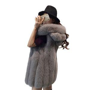 Qualitäts-Frauen Winterjacke Art und Weise Faux-Pelz-Mäntel fester mit Kapuze Pelz-Weste 3XL Ärmel Warme Mäntel für Damen