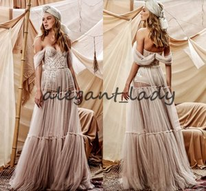 2021 Berta Bohemian Off Shoulder Wedding Bodysuit With Long Skirt 2021 Vintage Lace Applique Holiday Beach Boho Bride Dress vestidos