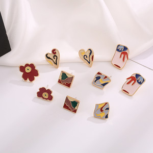 Timlee E077 National Style Art Retro Geometry Earrings Popular Drop Oil Color Painting Heart Alloy Studs Earrings wholesale
