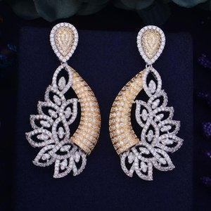 missvikki Exquisite Unique Design Pendant Earrings Nigerian Dubai Full Shiny Charming Cubic Zirconia for bridal Women
