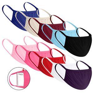 Yetişkin Doğa Sporları toz geçirmez Nefes Yıkanabilir için 10 Renkler Katı Renk Pamuk Maskesi Bezi Yüz PM2.5 Filtre HH9-3159 Maske Maske