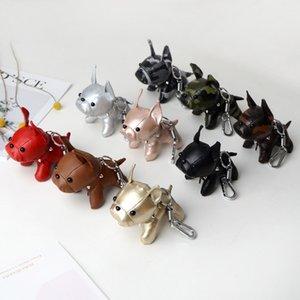 PU Leather Keychains Cute Bulldog Keyrings Floral Dog Key Ring Holder Women Girls Bag Decor Men Car Keychain