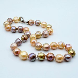 Rainbow pearl necklace, natural color baroque pearl, heart-shaped buckle, diameter 11-12mm, natural freshwater pearl, ladies nec