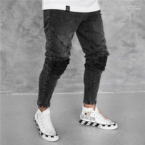 Джинсы мужские Популярные Vintage Zipper Hole Заусенцы карандаш брюки Мода черный Лето Повседневный Середина талии Mens