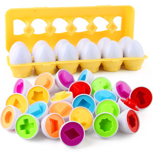 12pcs set Early Education Baby Toys Shape & Fruit Puzzle Toys Smart Paired Eggs Matching Eggs
