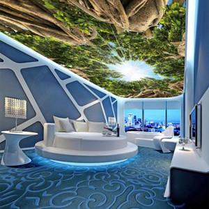 Custom 3D Ceiling Mural Photo Wallpaper Virgin forest big tree sky living room bedroom ceiling zenith mural Wallpapers