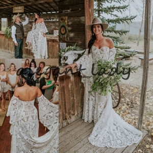Epic Canadian Country Farm Wedding Dresses 2021 Vintage Crochet Lace Hippie Bohemian Bell Long Sleeve Bride Gowns Robe de mariee