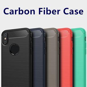 iPhone Para o caso 11 PRO MAX XS MAX XR Galaxy Nota 10 casos com OPP Bag S10 PLUS S9 fibra de carbono S8 PLUS escova Protective telemóvel caso macias