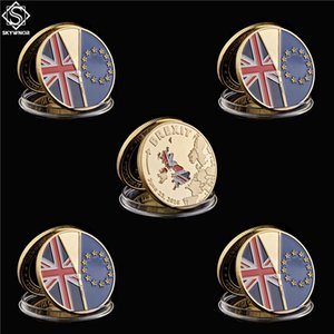5PC 2016 UK Brexit EU Referendum Independence Gold Commemorative Euro Coin With Protection Capsule