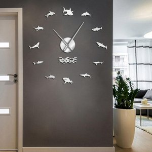 Wand-Schlafzimmer-Dekor Ozean Uhr Sharks Uhr Frameless Riesen Shark Diy Kunst-Aufkleber-Wand Nautical Großes Kid Wand Weiß Großer tiOLL wrhome