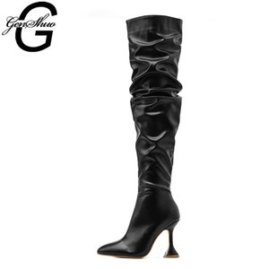 GENSHUO Winter Over the Knee Boots Women Black White Leather Stiletto High Heel Thigh High Boots Pleated Long Shoes Ladies Fall