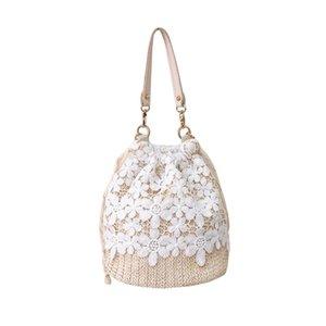 Leder-Handtaschen Big 2020 Qualität PU-Leder-Frauen Strand Blume Stroh-Wannen-Beutel Burlap Platz Tasche Messenger Bag513