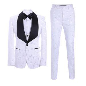 Bridalaffair 2020 Latest White Series Coat Pants Designs Suits For Men Wedding Slim Fit Formal Groom Tuxedo Prom Costume
