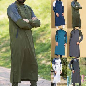 Kaftan Men Muslim Thobe Islamic Arabic Clothing Shirt Long Sleeve Tops Robe Saudi Arabia Traditional Costumes Men Muslim Dresses