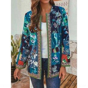 Kadınlar için 9E2CP 2020 sonbahar ve kış Yeni baskı dikiş ceket kolu hırka ceket klip uzun ceket sleeve