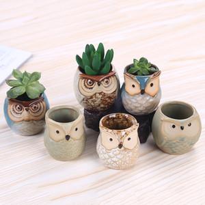 6 style de bande dessinée Hibou en forme de fleur en pot pour plantes Succulentes charnue Flowerpot céramique Petit jardin Mini Bureau Décoration