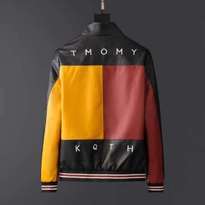 chaqueta de cuero bordado de la motocicleta de la universidad de lujo de la chaqueta de béisbol piloto de la capa de cuero de imitación 2020 de otoño e invierno de los hombres