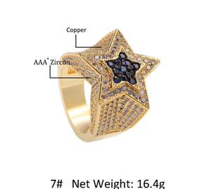 Cgjxs hombres '; S circón anillo de zafiro estrella de Euramerican Pentágono anillo de Hip Hop Accesorios de Moda Copper66