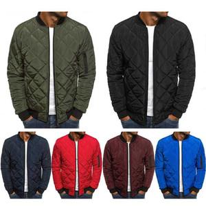 Inverno Casacos Men Slim Bomber Jacket 2020 coreano Moda Checkered Casual cor sólida Zipper Casacos Homens Parkas Macacões