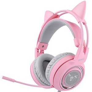 SOMIC G951 핑크 고양이 헤드폰 가상 7.1 소음 취소 도박 헤드폰 진동 주도의 USB 헤드셋 여자 헤드셋 PC 용