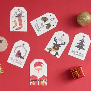 200pcs Noel Hediyesi Paket asın Etiketler Fiyatı Hang etiketleri Noel 350GSM ambalaj kart etiketlerin farklı baskılı beyaz elbise hangtag
