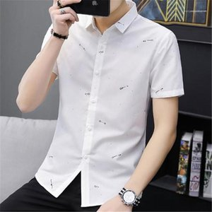 Short Shirt Cotton Print Leisure Business Turn Down Collar Shirt Mens Designer Shirt Fashion Spring Summer