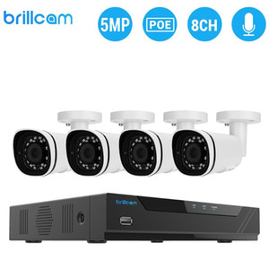 Sistema Brillcam 5MP Security Camera (1PCS 5MP 8CH PoE NVR, telecamere IP 4PCS) intelligente di rilevazione AI Surveillance Video Recorder