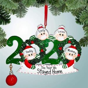 2020 Máscara de madera de Navidad muñeco de nieve colgantes colgante de los regalos del partido del árbol de Navidad Adornos de bricolaje Nombre cuarentena ornamento Familia Featival Decoración