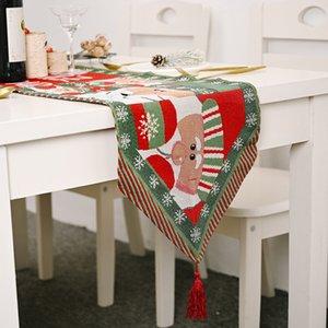 Suministros de decoración creativa nuevo tejido tela de mantel tela de punto tejida árbol bandera de mesa ICIQ Santa Claus bandera de mesa de mantel IciQ1