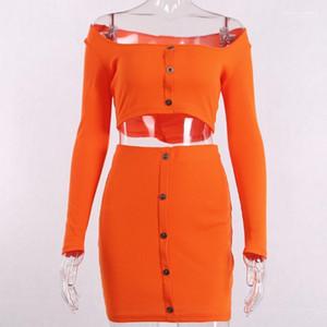 Düğme ile Boyun 2pcs Casual Şeker Renk Kadınlar Tasarımcı Giyim Moda Kadınlar 2 Adet Set Elbiseler Bahar Seksi İnce Elbise Slash