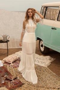 Bohemia A-line Wedding Dresses Beach High-neck Backless Tassel Appliqued Lace Bridal Gown Boho Chic Custom Made Vestidos De Novia